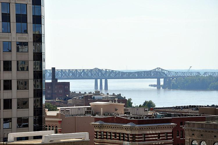 Memphis Arkansas bridge from The Peabody Hotel, Memphis, Tn
