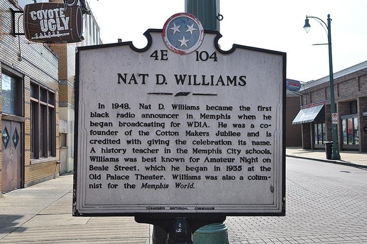 Nat D. Williams marker on Beale Street, Memphis, Tn