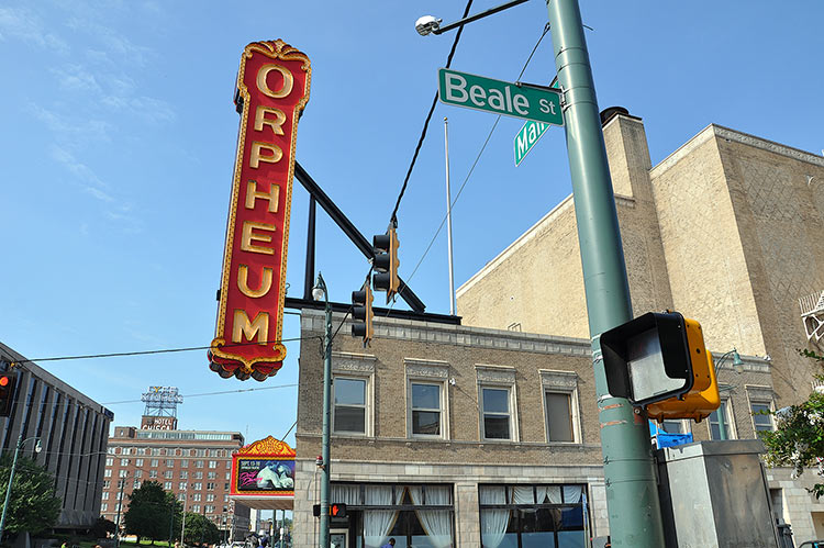 Orpheum Theater and former Hotel Chisca in the background, Memphis