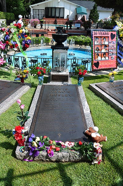 Elvis Presley's grave in the Meditation Garden at Graceland mansion, Memphis, Tn