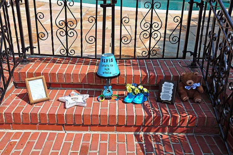 Gifts in Meditation Garden at Elvis Presley's Graceland mansion, Memphis