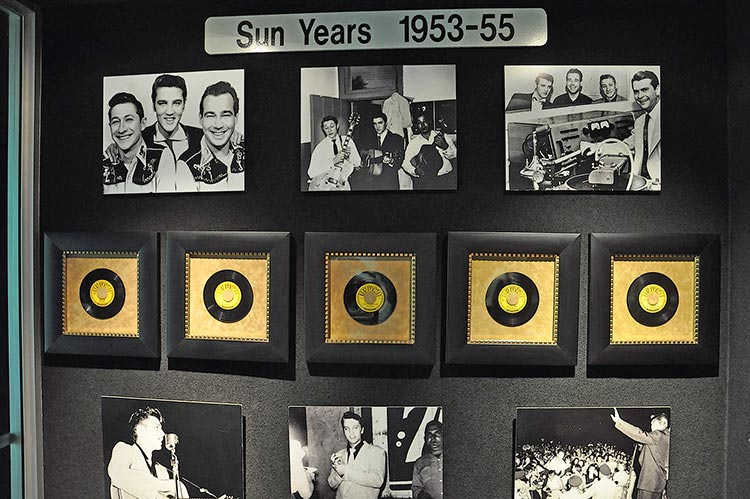 Sun Years display, Trophy Building, Elvis Presley's Graceland mansion in Memphis, Tn