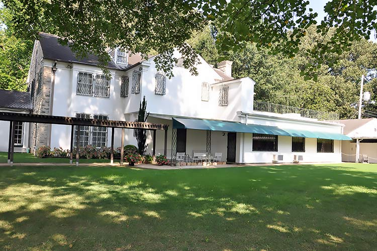 Backyard of Elvis Presley's Graceland mansion in Memphis, Tn