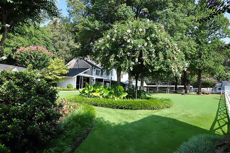 Garden and backyard of Elvis Presley's Graceland mansion in Memphis, Tn