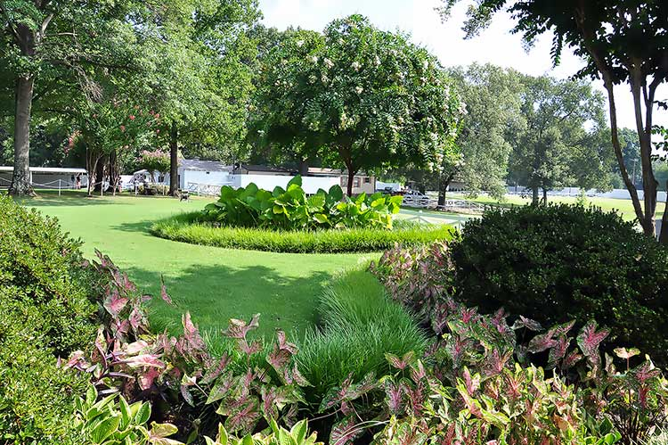 Garden of Elvis Presley's Graceland mansion in Memphis, Tn