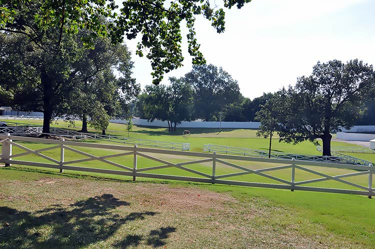 Backyard and horse fence at Elvis Presley's Graceland mansion in Memphis, Tn