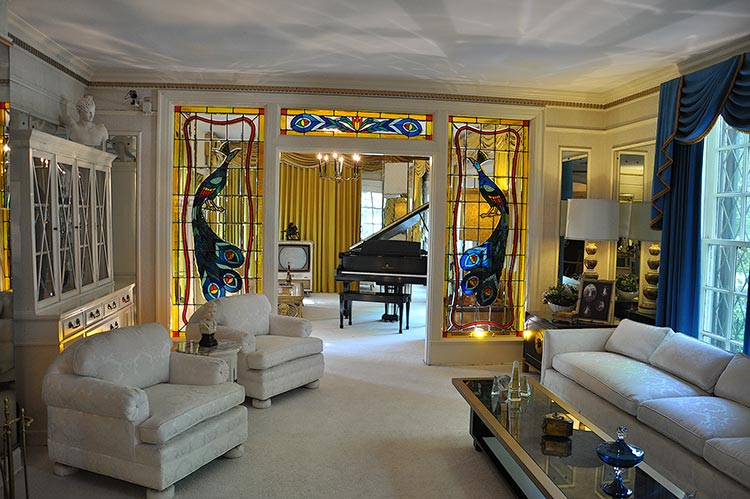 Living room and music room at Elvis Presley's Graceland mansion in Memphis