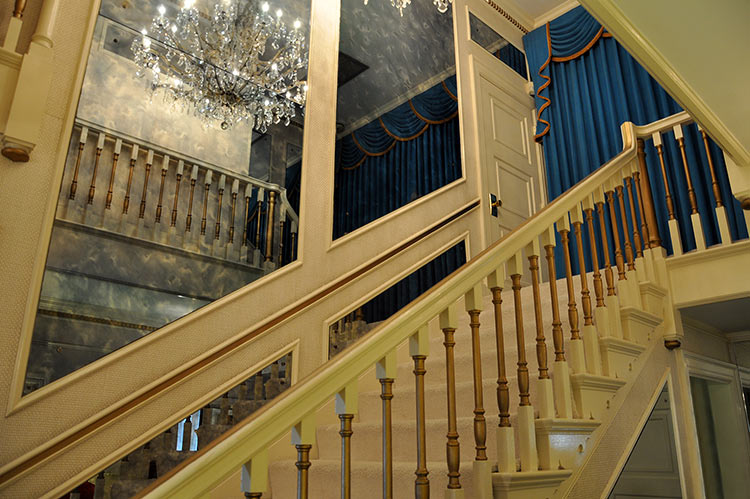Stairs in the hall at Elvis Presley's Graceland mansion in Memphis
