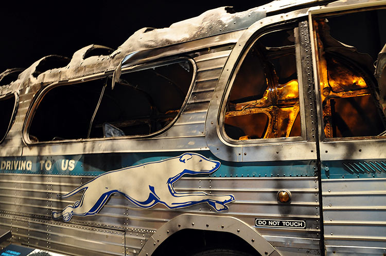 Freedom Riders bus on fire, National Civil Rights Museum