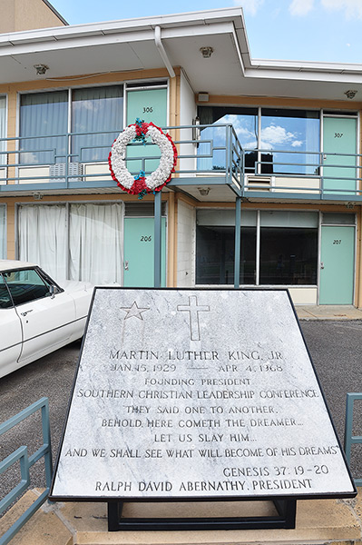 A wreath marks Dr King's place at the time of his assassination, National Civil Rights Museum @ Lorraine Motel, Memphis, Tennessee