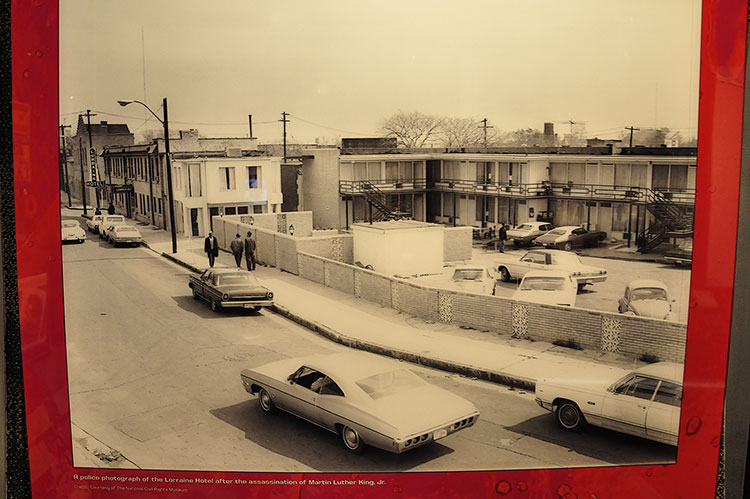 Police photography of Lorraine Motel after MLK was shot, Stax Museum