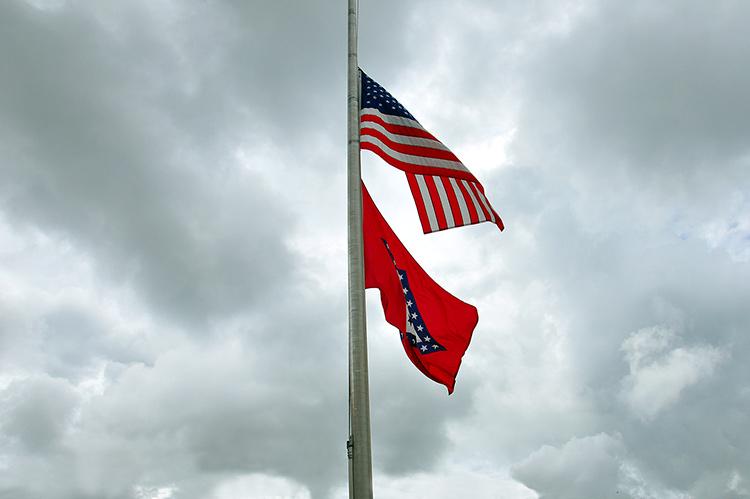 Flags on Helena Levee Walk