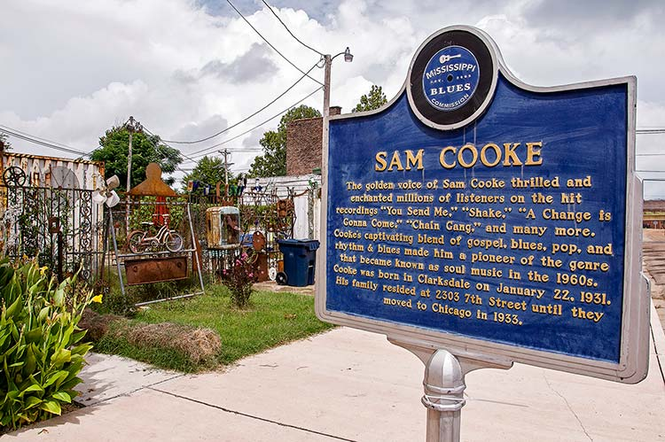 Sam Cooke blues marker, Clarksdale, Mississippi