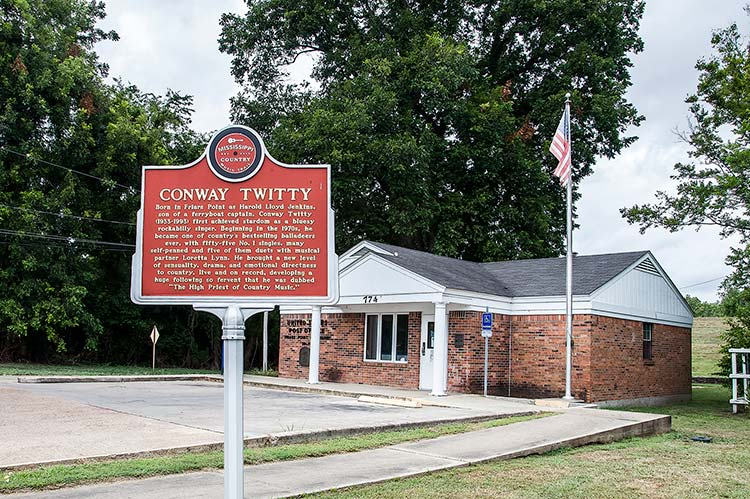 Conway Twitty country marker, Friars Point, Coahoma County, Mississippi