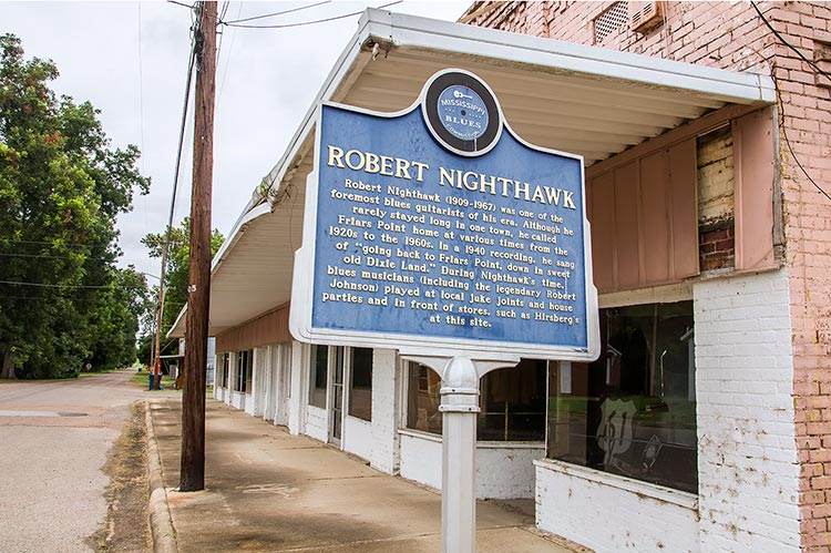 Robert Nighthawk blues marker at Hirsberg's Drugstore in Friars Point, Coahoma County, Mississippi