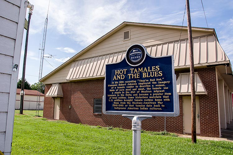 Blues marker at Joe's Hot Tamale Place on Highway One, Rosedale, Mississippi
