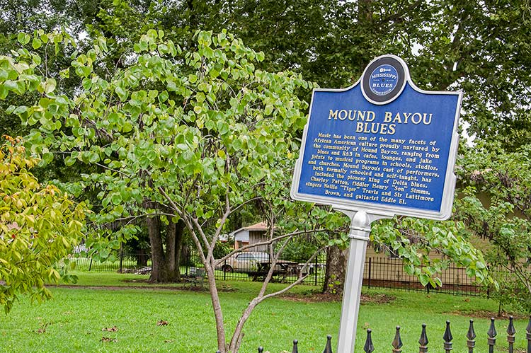Blues marker in Mound Bayou, Mississippi, city on Old Highway 61