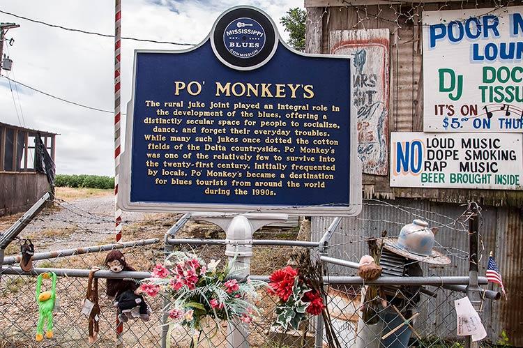 Blues marker for Poor Monkey Lounge (Po' Monkey's), Merigold, Mississippi
