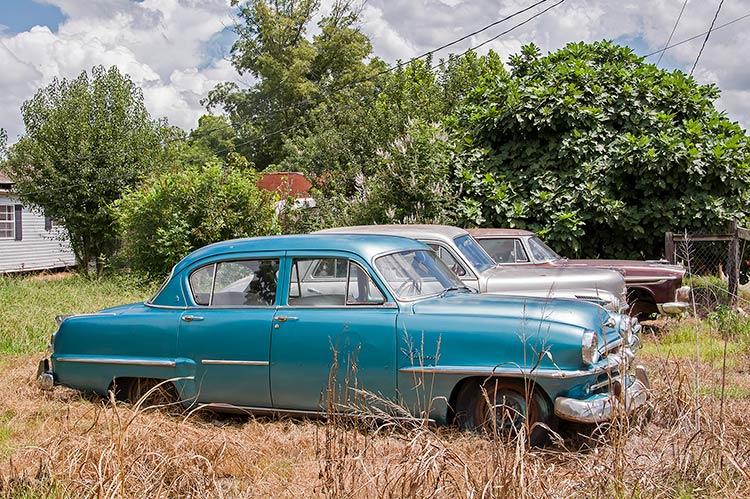 Vintage cars, Highway 49 E, Glendora, Mississippi