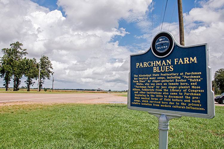 Highway 49 W and Parchman Farm blues marker, Mississippi