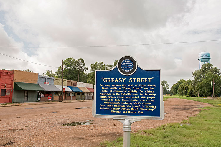 Greasy Street blues marker, Ruleville, Ms, city on Highway 49 W