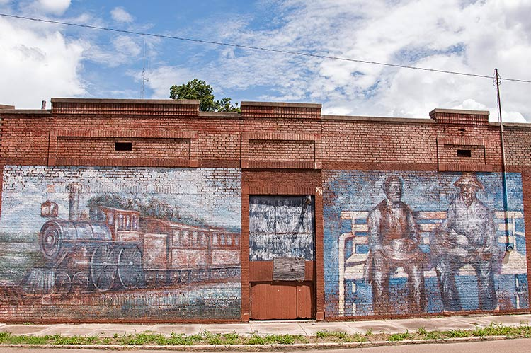 W.C. Handy encounters the blues, murals at the former railway station in Tutwiler, Mississippi