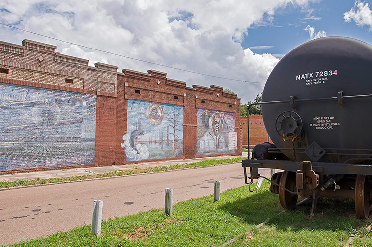 Murals at the former railway station in Tutwiler, Mississippi