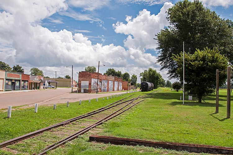 Site of the former railway station where W.C. Handy had the blues epiphany in 1903, Tutwiler, Mississippi