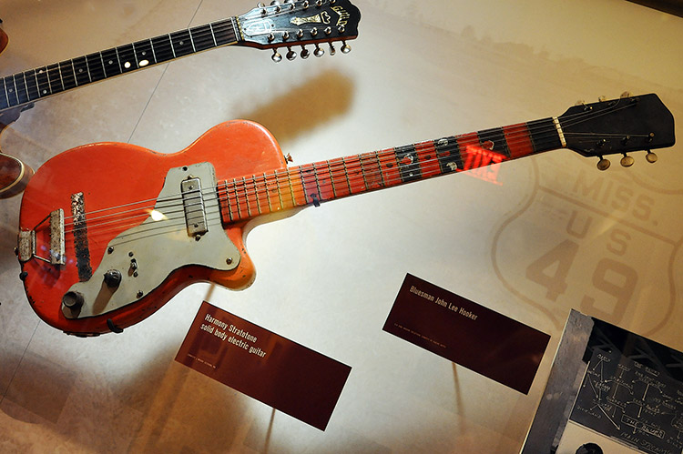 Harmony Stratotone solid body electric guitar, B.B. King Museum, Indianola, Mississippi