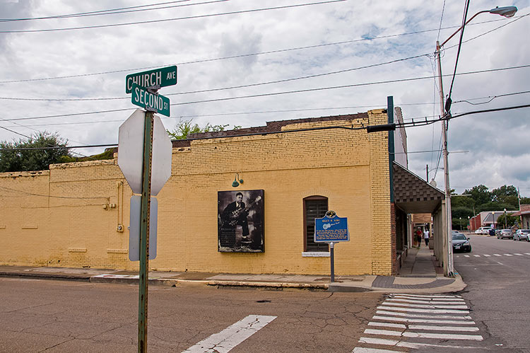 Favorite corner to play of the young B.B. King in Indianola, Mississippi
