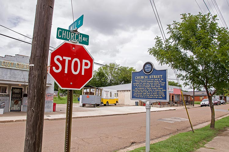 Church Street blues marker, Indianola, Mississippi