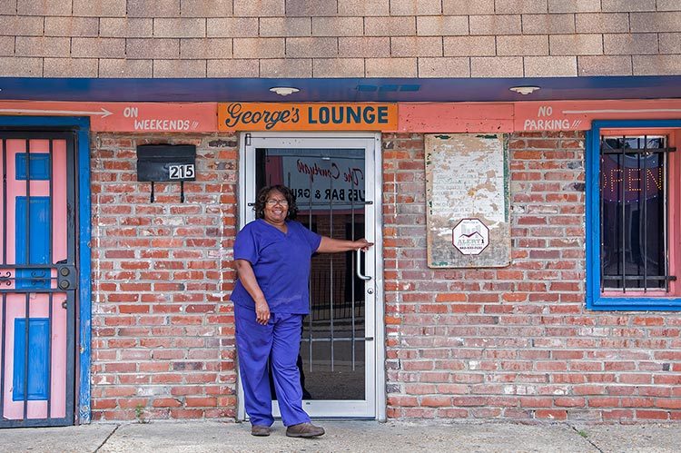 Pearlean in front of George's Lounge, Church St., Indianola, Mississippi