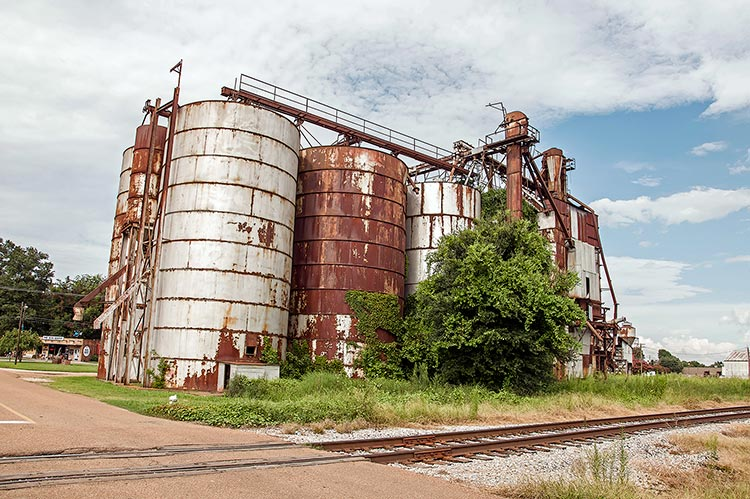 Old disused rusting grain silos in Indianola, Mississippi