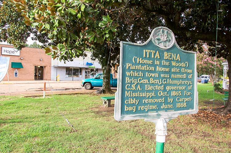 Historic marker for Itta Bena, Mississippi