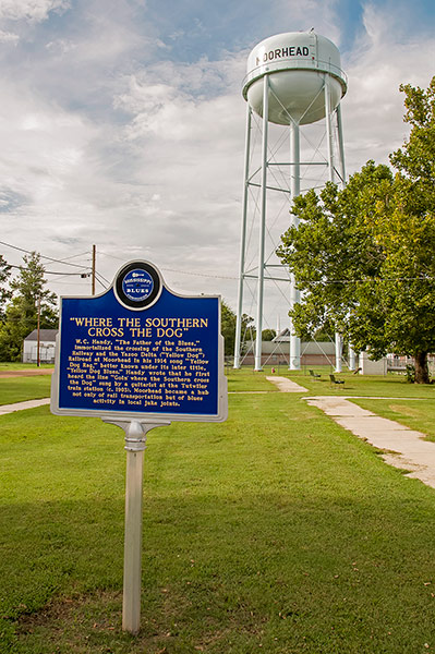"""Where the Southern Cross the Dog"" blues marker, Moorhead, Mississippi"