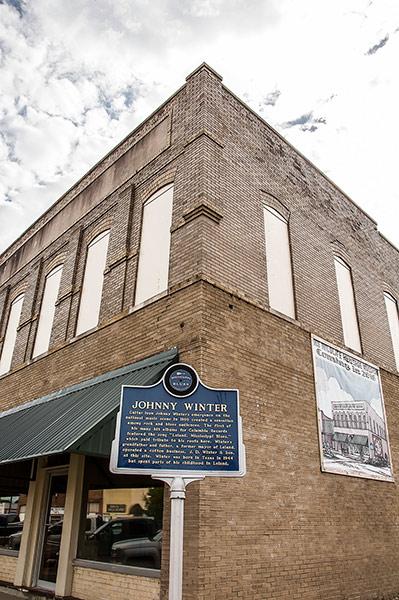 Johnny Winter blues marker in Leland, Mississippi