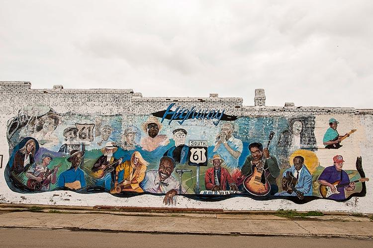 Highway 61 Bluesmen mural, Leland, Mississippi