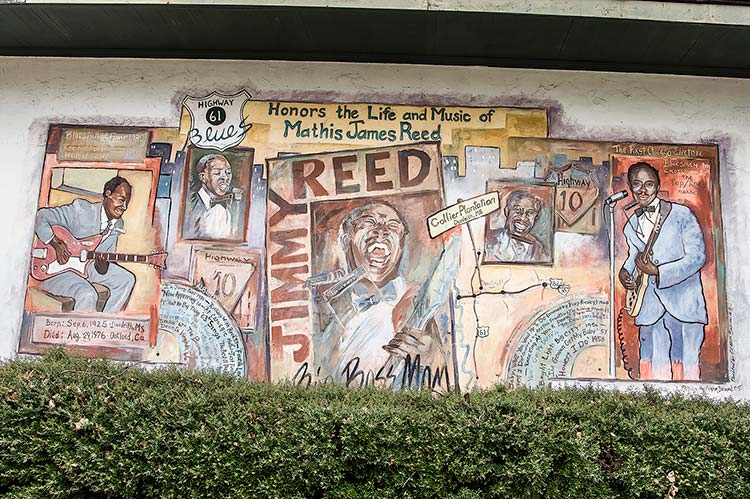 Jimmy Reed mural, Leland, Mississippi