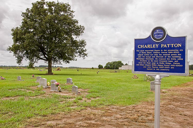 Charlie Patton blues marker at the New Jerusalem M.B. Church Cemetery, Holly Ridge, Mississippi