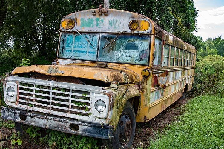 Old bus at Margaret's Grocery, Vicksburg, Miss.