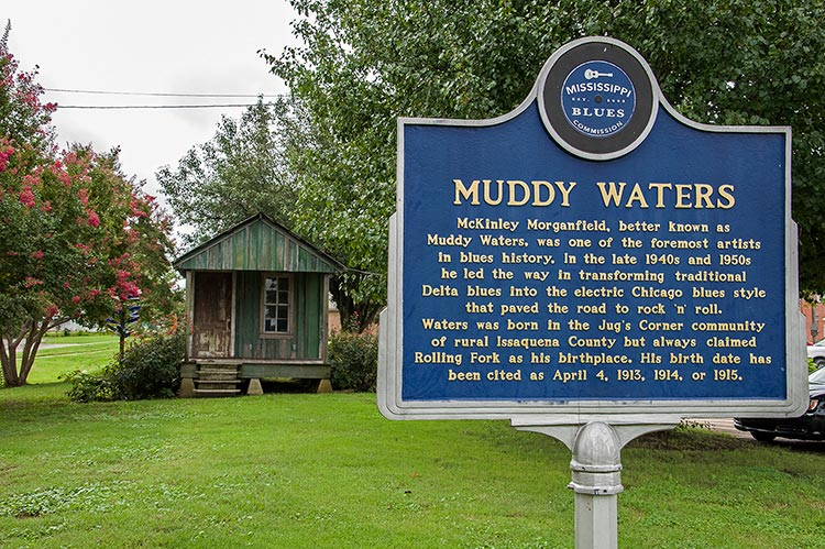 Muddy Waters's marker and Blues Shack, Rolling Fork, Mississippi