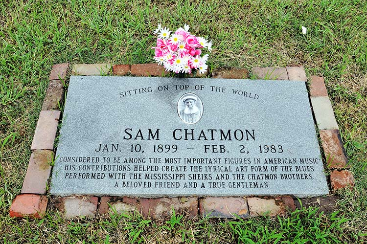 Sam Chatmon's grave at the Sanders Garden Memorial, Hollandale, Mississippi