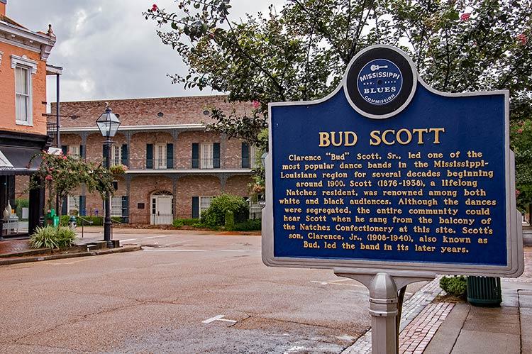 Bud Scott blues marker, Natchez, Mississippi