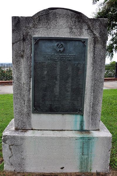 Monument to the dead of Rhythm Club, Natchez, Mississippi