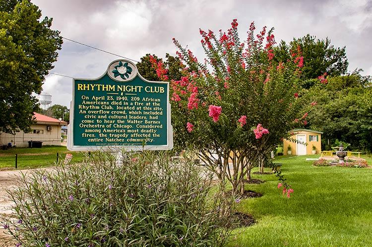 Rhythm Night Club marker, Natchez, Mississippi