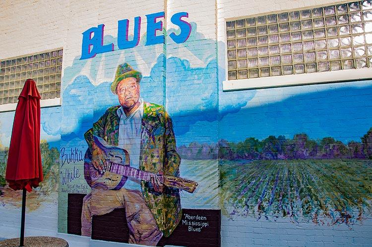 'Bukka' White, Aberdeen Mississippi Blues mural, Ms