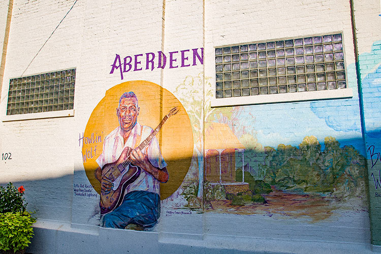 Howlin' Wolf, Aberdeen Mississippi Blues mural, Ms