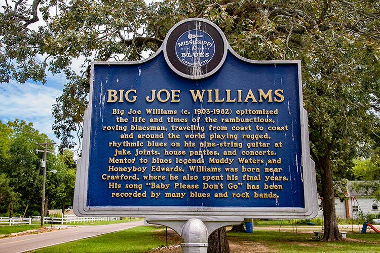 Big Joe Williams' marker, Crawford, East Mississippi