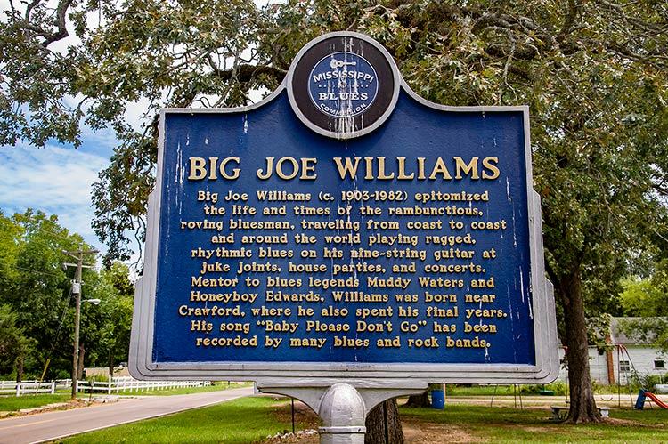 Big Joe Williams' marker, Crawford, East Mississippi