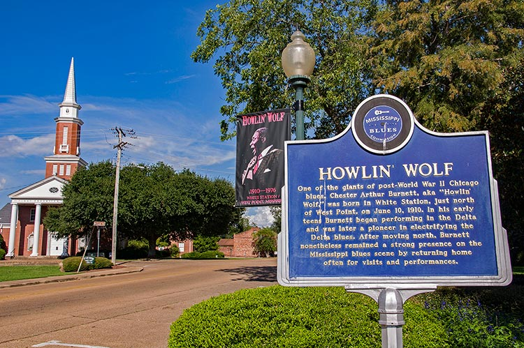 Howlin' Wolf blues marker and memorial, West Point, Ms